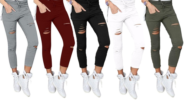 One or Two Pairs of Women's Ripped Stretchy Trousers from £9.98