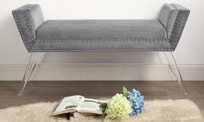 Mid Century Glam Velvet Bench Groupon Goods
