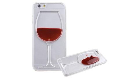 Funda con copa de vino y líquido compatible con todos los modelos de iPhone