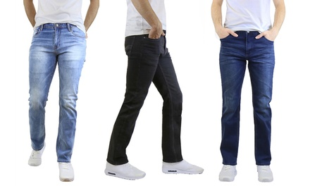 Men's Straight Leg Jeans with Stretch