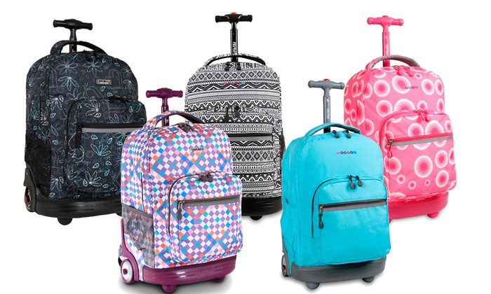 J World New York Sunrise Rolling Backpack | Groupon