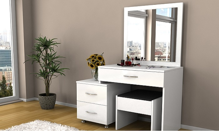 coiffeuse blanche et tabouret groupon. Black Bedroom Furniture Sets. Home Design Ideas