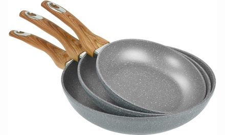 Up To Three Marble Stone Non-Stick Induction-Compatible Pans in Choice of Size