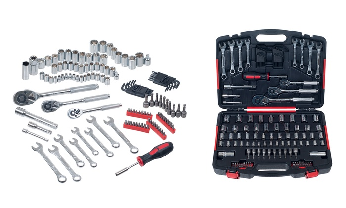garage and home hand tool set 135 piece groupon. Black Bedroom Furniture Sets. Home Design Ideas