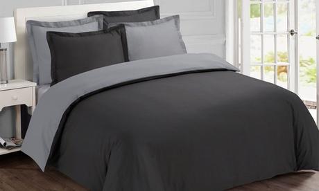 Parure de lit unie ou bicolore, 100% coton
