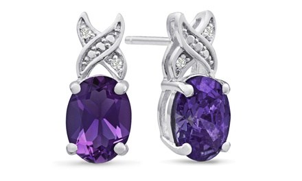3 CTTW Oval Amethyst and Diamond Accent Earrings