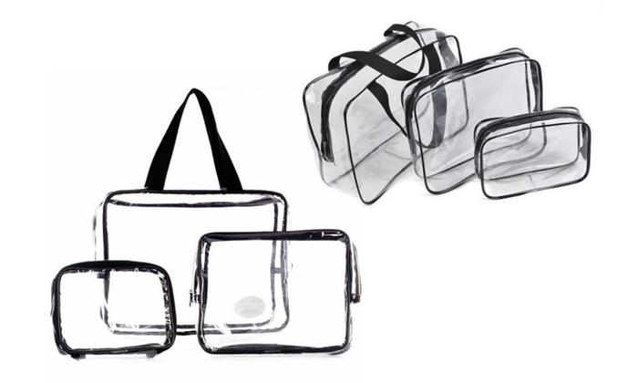 64234a8624f6 LaRoc 3-Pc Clear Cosmetic Bag Set
