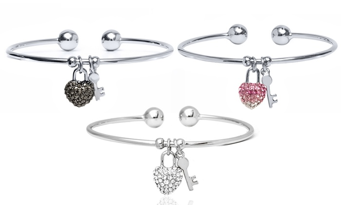 89a96d92f33d 18K White Gold Plated Heart Lock and Key Charm Cuff Bracelet with Swarovski  Elements Crystals