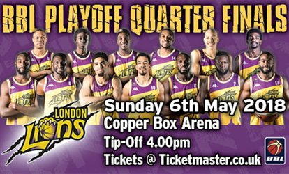image for London Lions Quarter-Finals Fixture, Adult or Family Ticket, 6 May at The Copper Box Arena (Up to 58% Off)