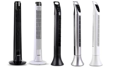 Three-Speed Cross-Wind Flow Tower Fan with Remote Control: Slim Base ($59) or Round Base ($69)