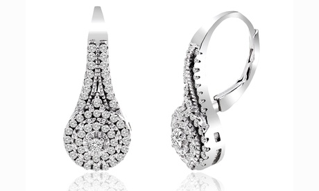 5.00 CTTW Studded Leverback Sterling Silver Earrings Made with Swarovski Elements