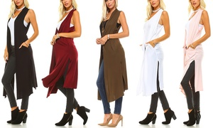 Isaac Liev Women's Extra-Long Duster Vest. Plus Sizes Available.