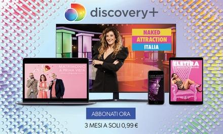Discovery+ a 0,33/mese per 3 mesi a 0€euro