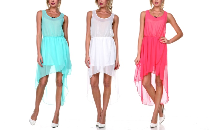 Chiffon High Low Sleeveless Women's Dress