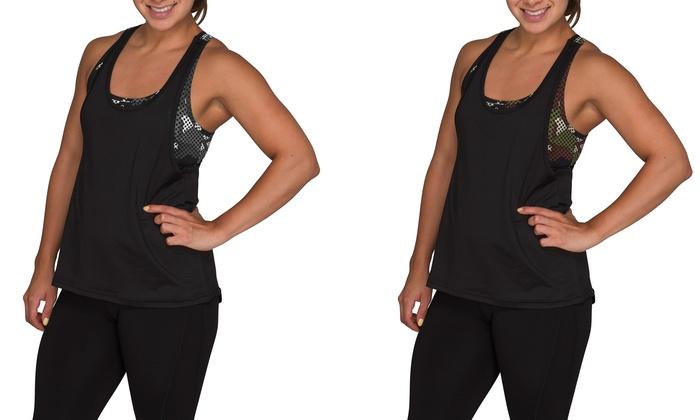 2-in-1 Women's Camo Activewear Tank Top with Built-in Bra (2-pack)