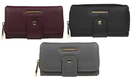 Rampage Women's Trifold Wallet with Front-Tab Detailing and Back-Zip Pocket