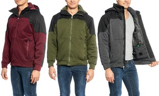 Men's Fleece Jacket with Detachable Hood Available in Extended Sizes