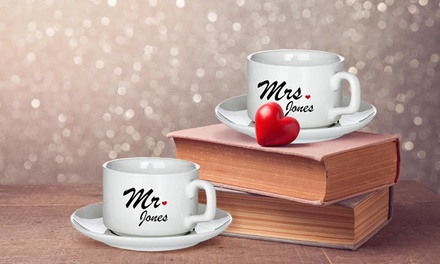 Two Personalised Mugs with Plates for £14.90