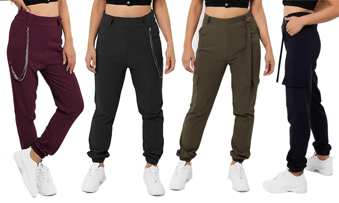 Women's Chain/Strap Detail Pocket Combat Joggers