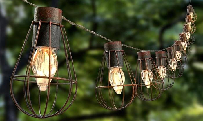 Vintage cage lantern solar string led lights