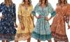 Vloeiende midi-jurk in boheemse stijl