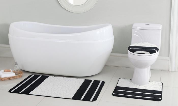 Sculpted Microfiber Bath Rug Set (3 Piece): Sculpted Microfiber Bath Rug Set