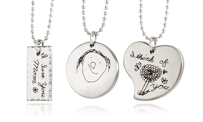 Custom etched necklaces stamp the moment groupon custom doodle etched stainless steel necklaces from stamp the moment aloadofball Images