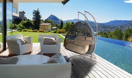 Home DeluxeHängesessel aus Polyrattan für 2 Personen in Grau, Braun oder Weiß inkl. Versand