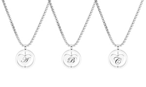 Rotating Heart Initial Necklace by Pink Box