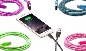 Aduro Apple-Certified Cloth Lightning-to-USB Cables (1, 2, or 3-Pack)