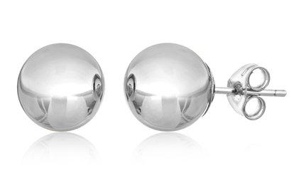 Groupon 14k Solid White Gold Ball Stud Earrings