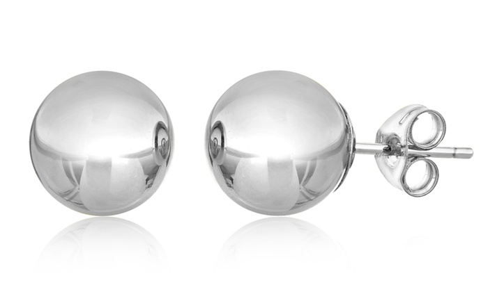 14k Solid White Gold Ball Stud Earrings