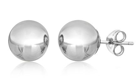 14K Solid White Gold Ball Stud Earrings
