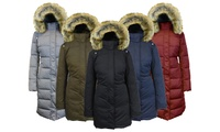Womens Heavyweight Parka Jacket with Detachable Hood