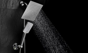 DreamSpa Rainfall Square Shower Combo with Push-Control Hand Shower