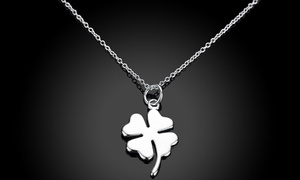 18K White Gold Plated Luck Clover Necklace by Rubique Jewelry
