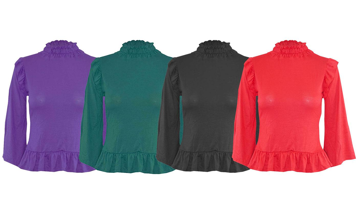 Oops Ruched Turtleneck Frill Sleeve Top