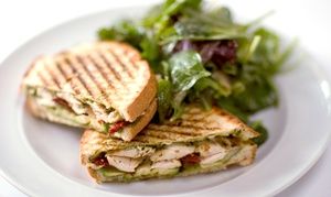 Grill Room: Soup or Salad, Sandwich Plate, and Drink for Two or Four at Grill Room (54% Off)