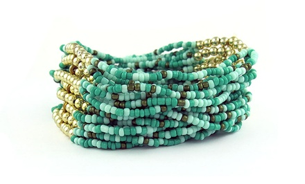 Multi-Strand Genuine Turquoise Stretch Bracelet