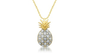 1/10 CTTW Diamond Pineapple Pendant in Sterling Silver By DeCarat