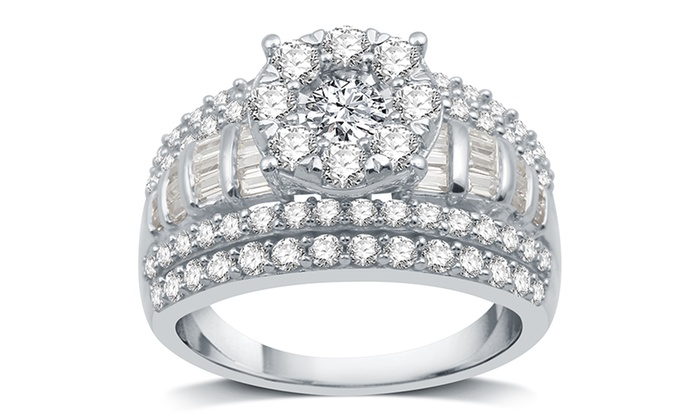 2 CTTW Diamond Round-Frame Engagement Ring in Sterling Silver | Groupon