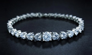 18K White Gold Plated Cubic Zirconia Bracelet by Elements Of Love