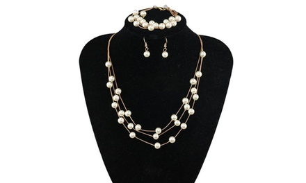 One, Two, or Three Exquisite Pearl Necklace Sets with Bracelets from Novadab (Up to 90% Off)