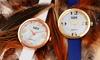 Clearance: Bürgi Classic Women's Watch with Diamond Markers: Clearance: Bürgi Classic Women's Watch with Diamond Markers and Leather Strap