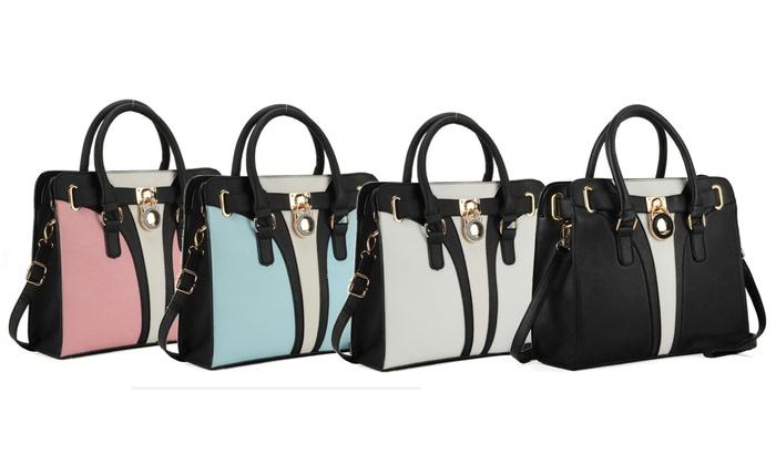 Patchwork Handbag With Padlock