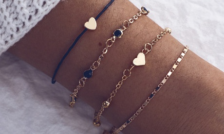 Set 4 braccialetti con cuori