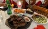 Menu argentino con dolce e vino