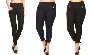 Women's Plus-Size High-Waist Fleece-Lined Knit Denim Jeggings