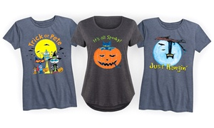 Women's Pete The Cat Halloween-Themed T-Shirts. Plus Sizes Available.