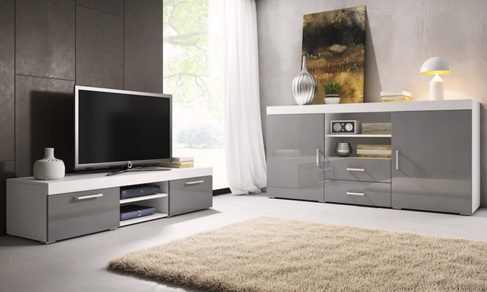 jusqu 39 68 meuble tv buffet mambo groupon. Black Bedroom Furniture Sets. Home Design Ideas
